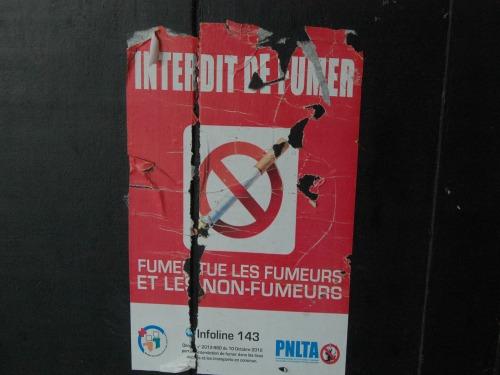 Affiche Interdit de fumer/ Crédit photo : Kpénahi